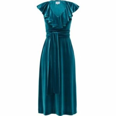ルイザ ベッカリア Luisa Beccaria レディース ワンピース ミドル丈 ワンピース・ドレス Tie-waist ruffled velvet midi dress Ocean blu
