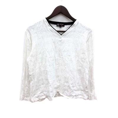 【中古】エムケー ミッシェルクラン MK MICHEL KLEIN Tシャツ カットソー Vネック 総柄 長袖 48 白 ホワイト 黒 ブラック /YK レディース 【ベクトル 古着】