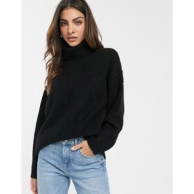 エイソス レディース ニット・セーター アウター ASOS DESIGN fluffy sweater with cowl neck Black