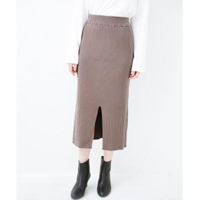 haco! すっきり見えて大人っぽい!ゆるトップスとの相性抜群なリブニットタイトスカート(グレイッシュベージュ)