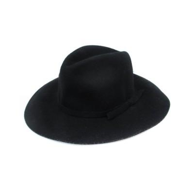 【中古】サンフランシスコハット SANFRANCISCO HAT 帽子 ハット 中折れ ソフト つば広 ウール リボン 黒 ブラック /FF53 レディース 【ベクトル 古着】