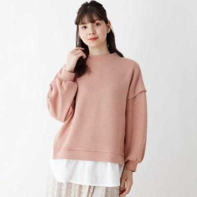 シューラルー SHOO-LA-RUE レイヤード風ドロップショルダー裾シャツ (ライトオレンジ)