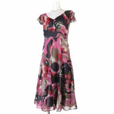 【中古】モガ MOGA ワンピース ドレス ロング 総柄 半袖 シフォン フリル フレア Vネック 赤 ピンク系 3 IBS94 レディース