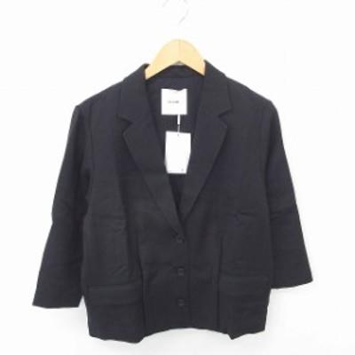 【中古】未使用品 クラネ CLANE タグ付き ジャケット アウター テーラード 無地 総裏地 ウール混 36 黒 ブラック