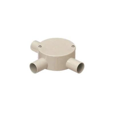 露出用丸形ボックス(平蓋・3方出)適合管VE22 ベージュ 20個価格 未来工業 PVM22-3J