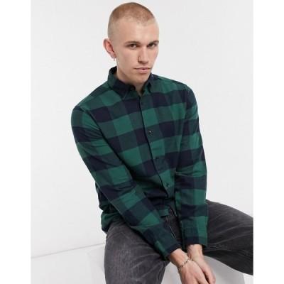 ジャックアンドジョーンズ ワークシャツ メンズ Jack & Jones Originals brushed buffalo check shirt in navy and green エイソス ASOS グリーン 緑