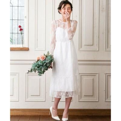 ドレス kaene×formforma/フラワーチュールレース 袖付きロングウェディングドレス