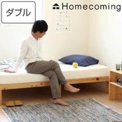 ベッド ひのき すのこベッド ダブル Homecoming 天然木 木製 ( 送料無料 国産 すのこ ダブルベッド 木製ベッド ベッドフレーム 6本脚 日