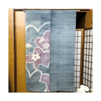 本麻のれん ロング丈 和風 麻のれん 「桜に睡蓮」 手描き 染め分け さくら インテリア 暖簾 のれん 麻暖簾 麻100% 90cm×149cm ブルーグレー