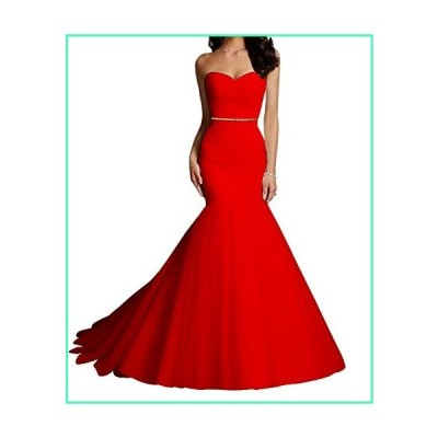 DianSheng Women's Tulle Mermaid Wedding Dresses Bridal Dress Wedding Gowns with Crystal Sash Red us22w並行輸入品