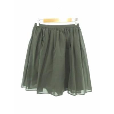 【中古】ノーリーズ Nolley's スカート ひざ丈 ギャザー 36 緑 グリーン /Y2I16 レディース