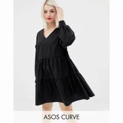 エイソス ワンピース ASOS DESIGN Curve tiered cotton smock mini dress with long sleeves Black