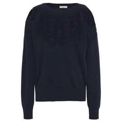 サンドロ SANDRO レディース ニット・セーター トップス crochet-paneled knitted sweater Midnight blue