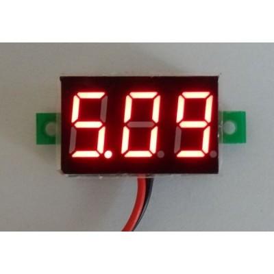 小型デジタル電圧計 赤 2.5-30V【簡単2線式/埋め込み型】