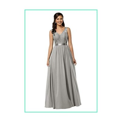 YORFORMALS V-Neck A-line Lace and Chiffon Long Plus Size Bridesmaid Dress Formal Evening Gown with Belt Size 24 Grey並行輸入品