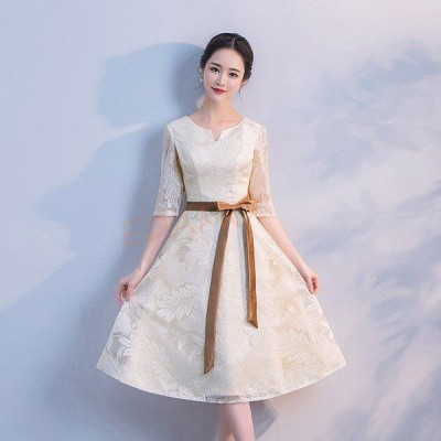 5分袖 膝丈ドレス Aライン パーティー 結婚式 成人式 パーティードレス 二次会 Aラインドレス シンプル 司会ドレス ひざ丈