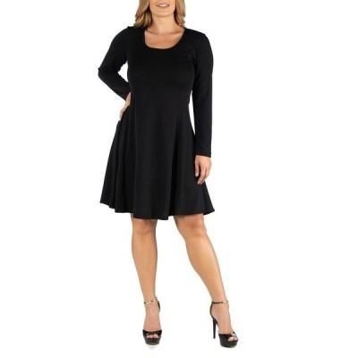 24セブンコンフォート ワンピース トップス レディース Simple Long Sleeve Knee Length Flared Plus Size Dress Black