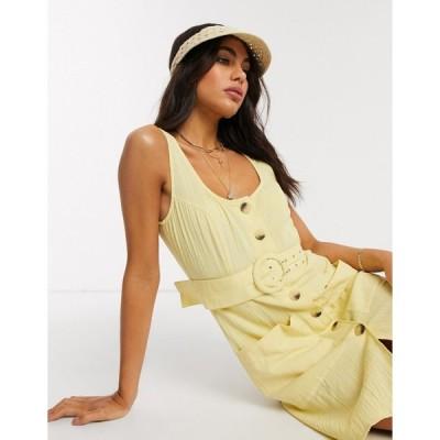 エイソス ミニドレス レディース ASOS DESIGN button through linen mini sundress with self covered belt in yellow エイソス ASOS イエロー 黄
