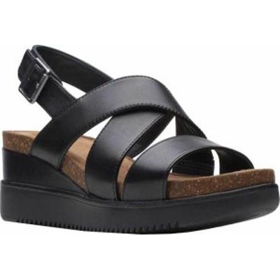 クラークス レディース サンダル シューズ Women's Clarks Lizby Cross Wedge Slingback Sandal Black Leather