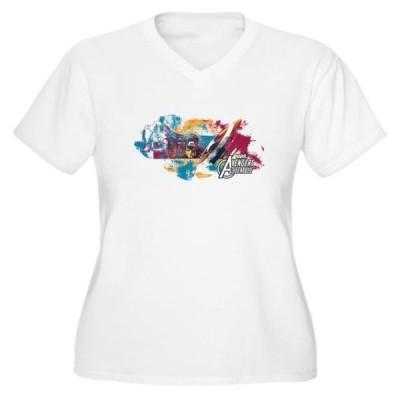 レディース 衣類 トップス CafePress - Captain America P - Women's Plus Size V-Neck T-Shirt Tシャツ