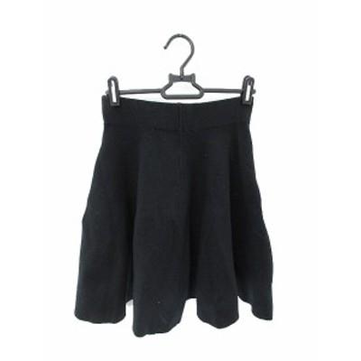 【中古】ラグナムーン LagunaMoon スカート ひざ丈 フレア S 黒 ブラック /AST レディース