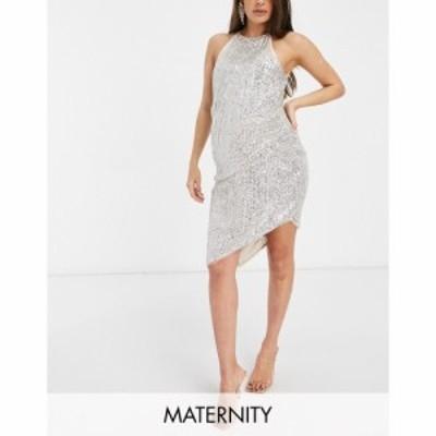 ジェイデッドローズ Jaded Rose Maternity レディース ワンピース ミドル丈 ワンピース・ドレス High Neck Asymmetric Midi Dress In Sil