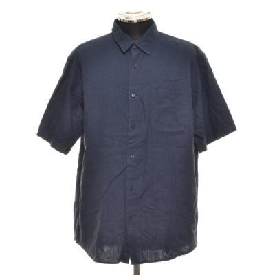 NANO UNIVERSE ナノユニバース 半袖 リネン シャツ 668-0121009 サイズXL メンズ ネイビー ブルー