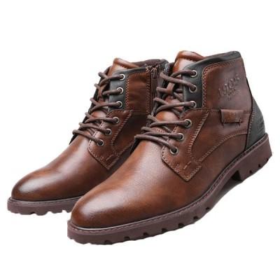 カジュアルシューズ 砂漠靴 アンクルブーツ メンズ ショート レースアップ ローヒール ヴィンテージ アーモンドトゥ 紳士靴