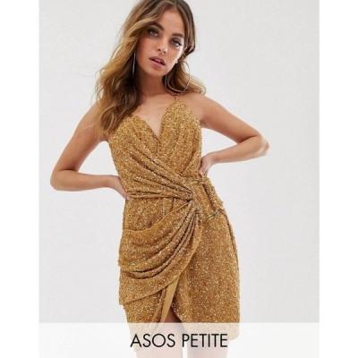 エイソス ASOS Petite レディース ワンピース ミニ丈 ワンピース・ドレス Petite All Over Sequin Drape Mini Dress With Horn Buckle ブロンズ