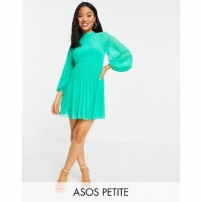 エイソス ASOS Petite レディース ワンピース Aライン ミニ丈 ASOS DESIGN Petite high neck pleated long sleeve mini skater dress in