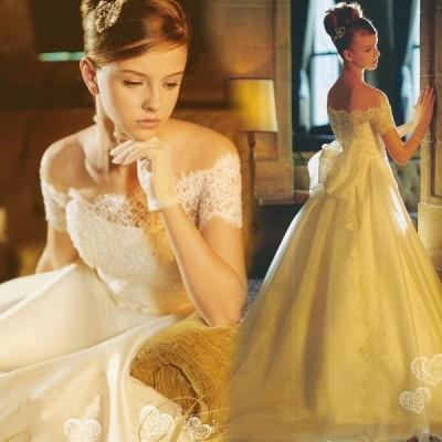 ウエディングドレス エンパイア 安い 花嫁 二次会 ウェディングドレス 結婚式 マタニティドレス 半袖 披露宴 ブライダル ロングドレス 蝶結び wedding dress
