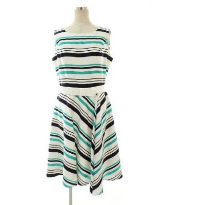 エムズグレイシー ワンピース Green x Black Stripes Dress ボーダー ノースリーブ 42