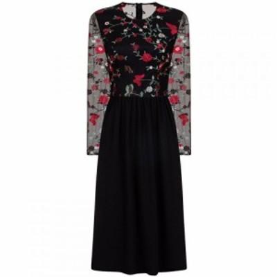 チチ Chi Chi レディース パーティードレス ミドル丈 ワンピース・ドレス Floral Embroidered Midi Dress Black