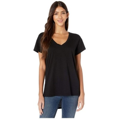 ボビ ロサンゼルス bobi Los Angeles レディース Tシャツ Vネック トップス V-Neck High-Low Tee Lightweight Jersey Black