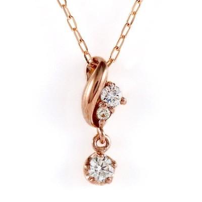 ピンクゴールド 10金 K10 ダイヤモンド シンプル ネックレス【今だけ代引手数料無料】