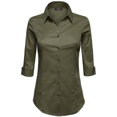 レディース 衣類 トップス MBJ WT1947 Womens 3/4 Sleeve Tailored Button Down Shirts S NEW_OLIVE ブラウス&シャツ