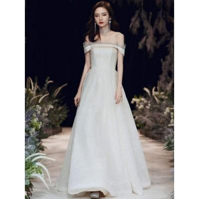 ウェディングドレス 二次会ドレス Aライン ロングドレス パーティードレス 結婚式 イブニングドレス 大きいサイズ 演奏会 カラードレス お花嫁ドレス 姫系