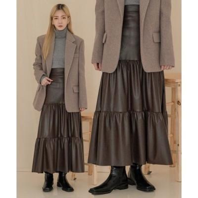 スカート フェイクレザーカンカンスカート