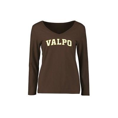 ファナティックス カレッジ 大学 スポーツ NCAA アメリカ USA 全米 Valparaiso Crusaders レディース ブラウン Everyday スリム Fit 長袖 Tシャツ