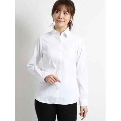 (TAKA-Q/タカキュー)形態安定ストレッチ レギュラーカラー長袖シャツ/レディース ホワイト