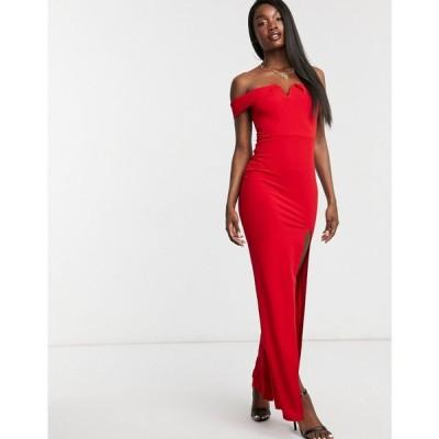アックスパリス AX Paris レディース ワンピース マキシ丈 ワンピース・ドレス bandeau maxi dress with split in red レッド