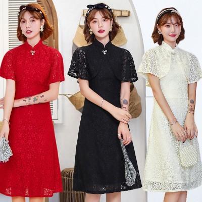 ◆新品新作◆ 送料無料◆限定価格◆3色 M-3XL 春夏新作レースのワンピースを改良したチャイナドレスドレスの女装少女カジュアル日常パーティーに出演しますJX02
