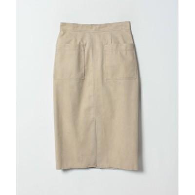 【アルアバイル/allureville】 ステッチワークカラースエードタイトスカート