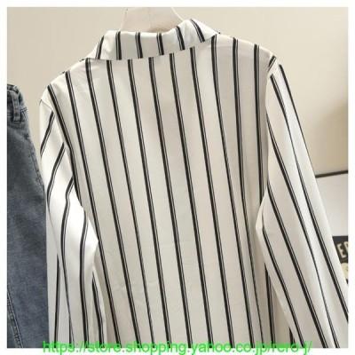 シャツワンピースブラウスレディース綿麻混ロングシャツ長袖薄手ゆったりUVカットカーディガンストライプ着痩せ羽織大きいサイズ