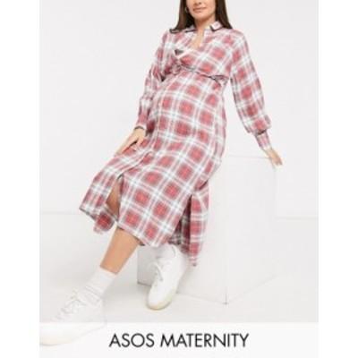エイソス レディース ワンピース トップス ASOS DESIGN Maternity nursing button through double layer shirt dress in check Pink ecru