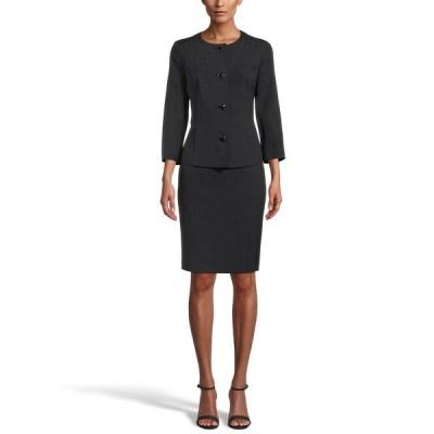 ル スーツ スカート ボトムス レディース Crepe Notched-Collar Button-Front Skirt Suit Black