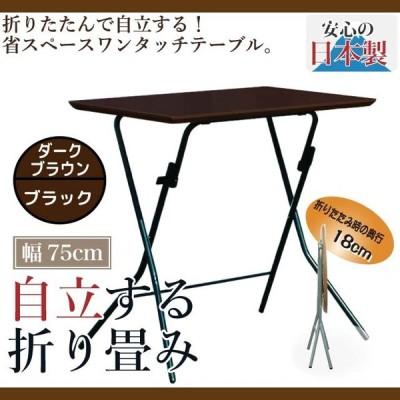 折り畳み式テーブル ハイテーブル 簡易テーブル 作業台 薄型  耐荷重50kg  自立テーブル スタンドタッチテーブル SB-755TD 日本国産