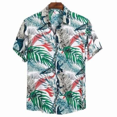 ハワイアンプリントメンズシャツカジュアルボタンビーチ半袖シャツ男性ストリート速乾性ブラウストップ M-3XL カミーサ