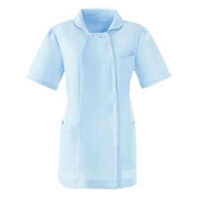 アイトスAITOZ(アイトス) スクエアネックチュニック(ナースジャケット) 医療白衣 半袖 サックスブルー LL 861365-007