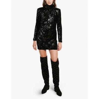 クローディ ピエルロ CLAUDIE PIERLOT レディース パーティードレス ワンピース・ドレス Relief sequin-embellished mini dress BLACK